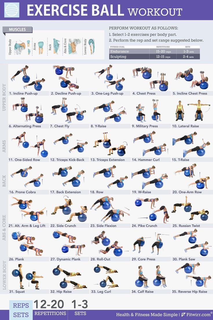 It is an image of Printable Exercise Ball Workouts intended for circuit training